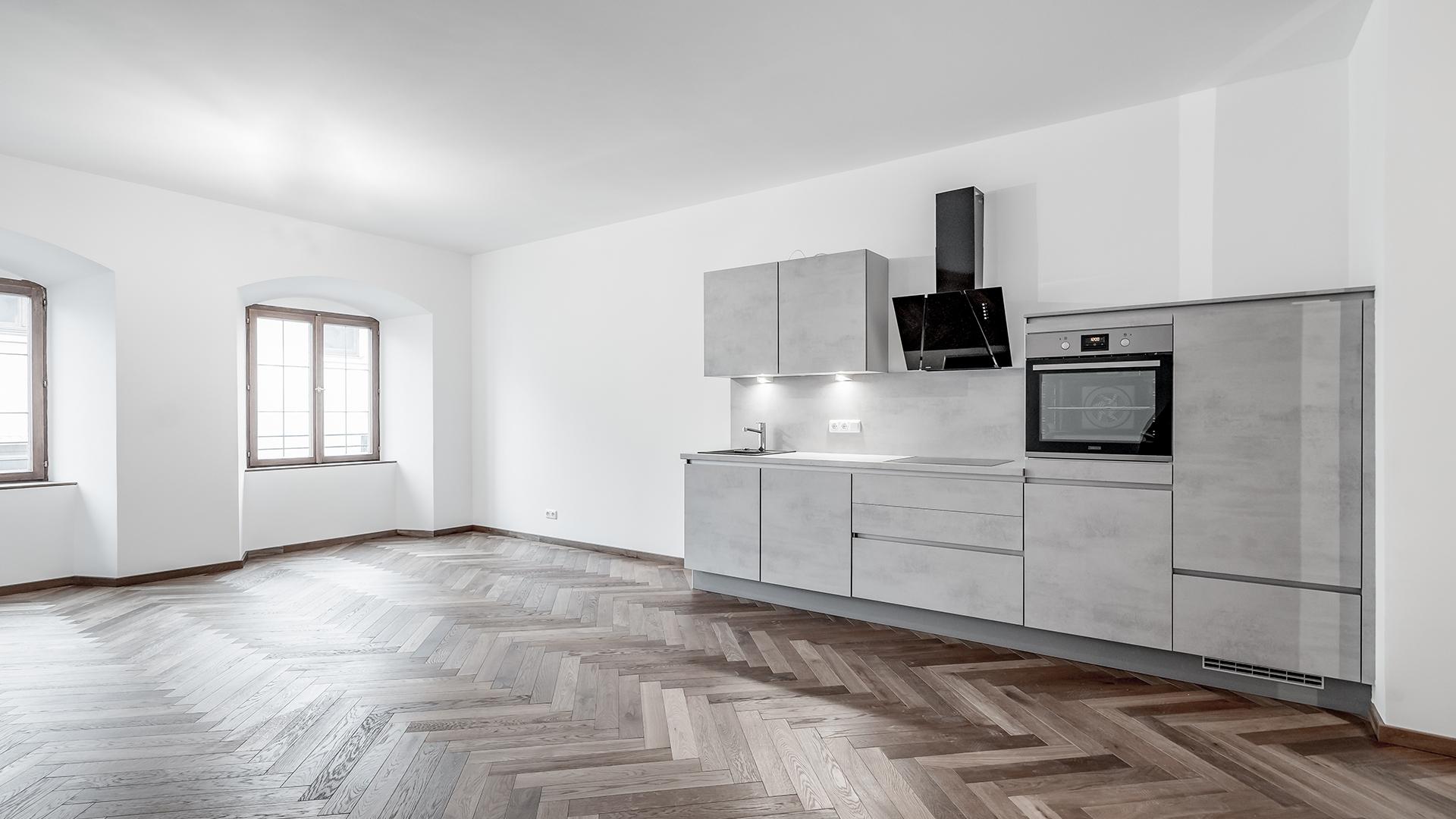 Küche und Wohnbereich im Blauen Haus